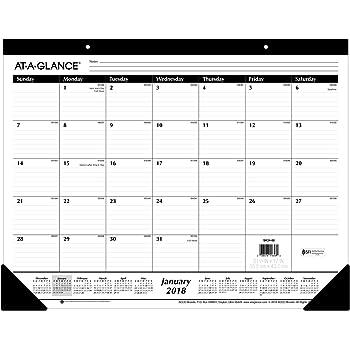 "AT-A-GLANCE Monthly Desk Pad Calendar, Ruled Blocks, January 2018 - December 2018, 22"" x 17"" (SK2400)"