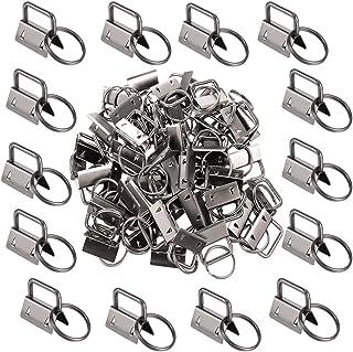 50Pcs 1 Inch Key Fob Hardware Black Key Chain Fob Wristlet Hardware with Key Ring for Lanyard
