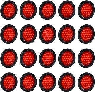 20PCS 4 Inch Round Strobe 24-LED Red Stop Brake Running Tail Lights Grommet Plug Truck Trailer RV ATV UTV Boat