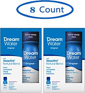 Dream Water Natural Sleep Aid, Snoozeberry - Special 8 Count - GABA, MELATONIN, 5-HTP, 2.5oz Shot- Top Rated - Non-Habit Forming