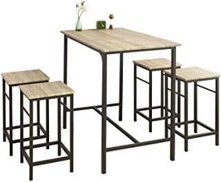 SoBuy stół z krzesłami stolik barowy stoły z krzesłami Brązowy, zestaw 5-cz OGT11-N