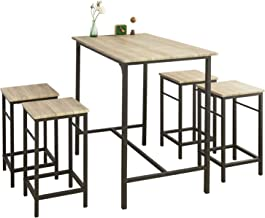 SoBuy OGT11-N Bartafel Tafel met 4 krukken – Tuinset bartafelset 5-delige eettafel bistrotafel met 4 stoelen