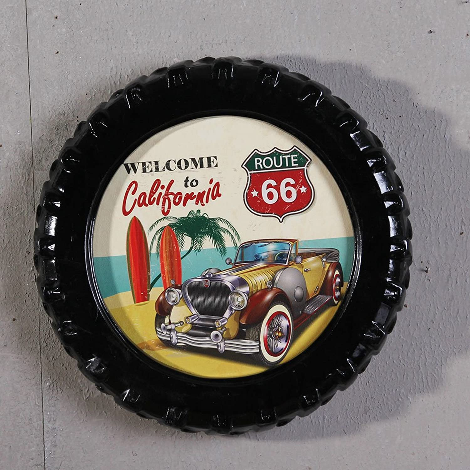 Retro Tire Wall Hanging Wall Ornaments, Home Decoration Dash Wall Decoration Painting 40  40Cm,L
