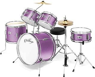Ashthorpe 5-Piece Complete Kid's Junior Drum Set with Genuine Brass Cymbals - Children's Advanced Beginner Kit with 16