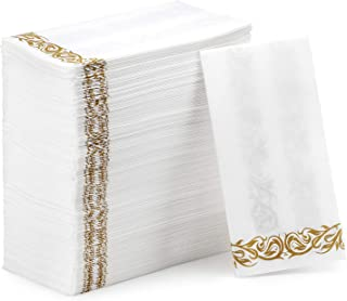 Passion Section Disposable Linen-Feel Guest Towels & Decorative Napkins - Soft and Absorbent Paper Hand Towels for Bathroom, Powder Room, Weddings, Parties, or Christmas - White and Gold (100 Pack)