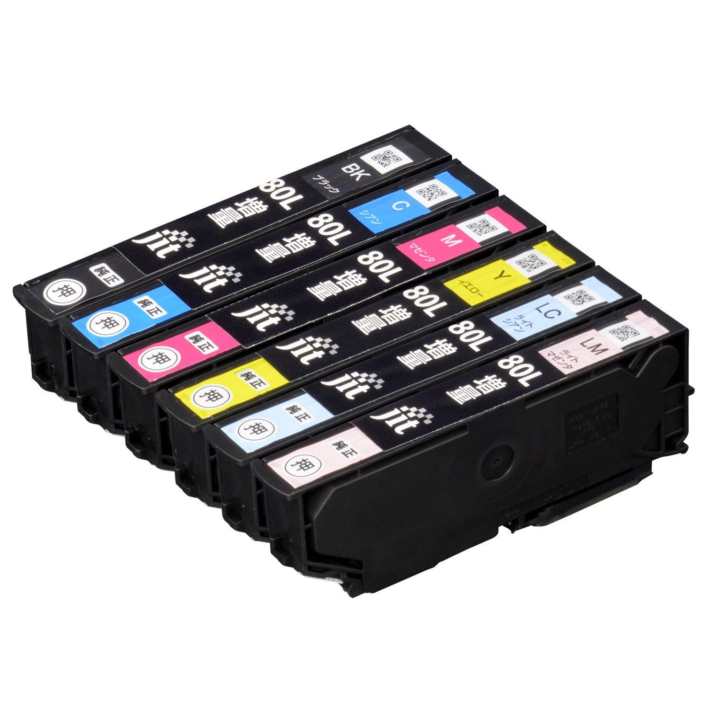 ジット エプソン (EPSON) 対応 リサイクル インクカートリッジ IC6CL80L 増量 6色セット対応 JIT-NE80L6P