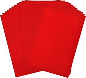 Adhesive Backed Felt Sheet for Crafts, Drawer Liner; 20 PCs Velvet Fabric Strip with Sticky Backing by Mandala Crafts (11.5 X 8 Inches, Red)