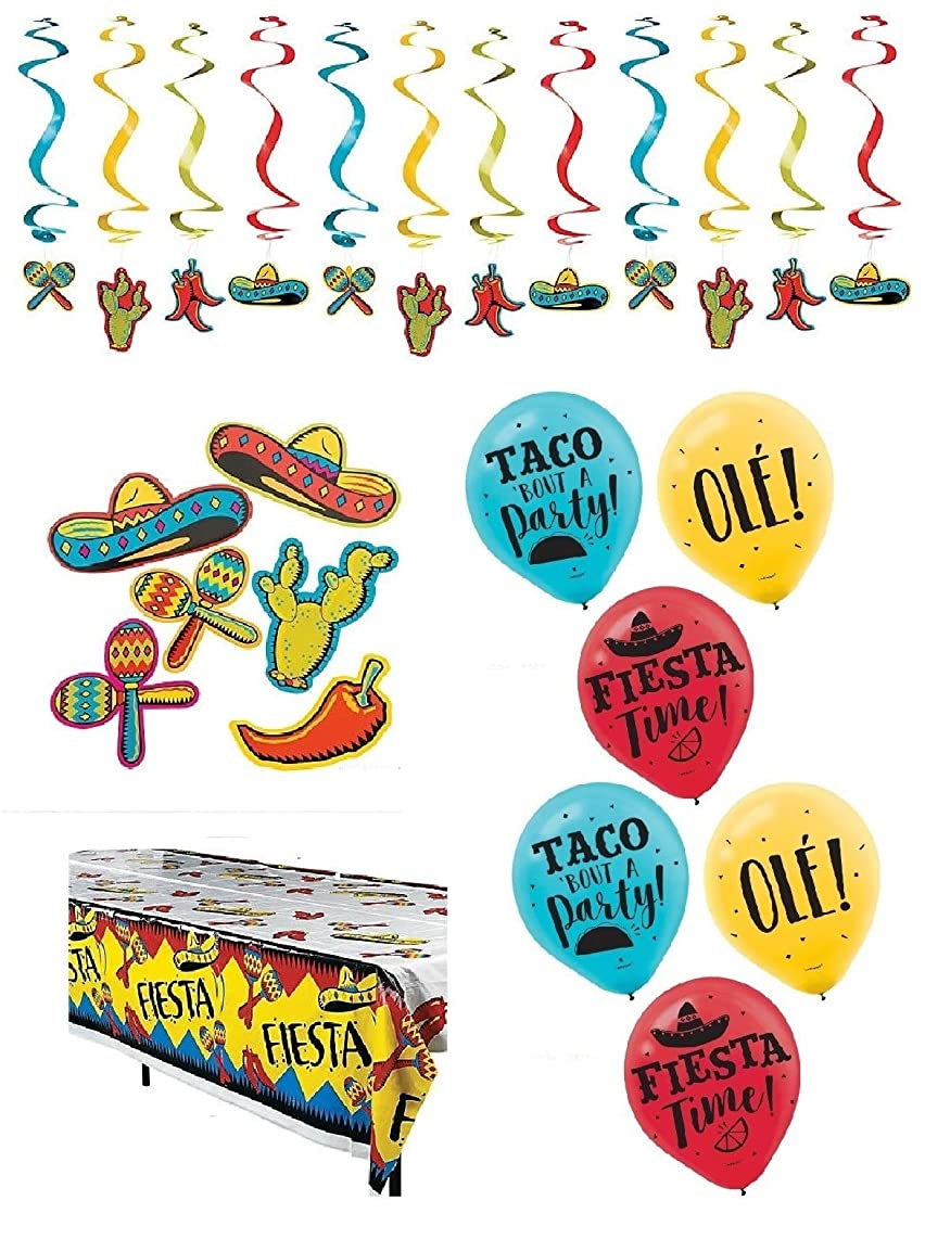 Fiesta Party Decorations, Mexican Theme Cinco De Mayo Taco Tuesday Table Cover Balloons Cutouts Whirls