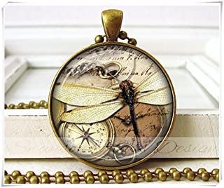 Dragonfly Jewelry - Compass - Photo Pendant - Dragonfly Necklace