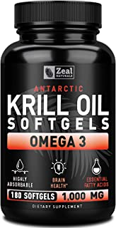 Pure Antarctic Krill Oil + Omega 3 (1000mg   180 Softgels) Maximum Strength Omega 3 Krill Oil Supplement with EPA, DHA & Astaxanthin - Omega 3 Fish Oil for Joint Support, Brain Health, Heart Health