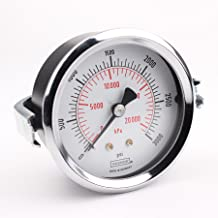 """NOSHOK 100 Series Steel Dual Scale Dial Indicating Pressure Gauge with Panel Mount, 2-1/2"""" Dial, +/-2.5% Accuracy, 0-3000 psi Pressure Range"""