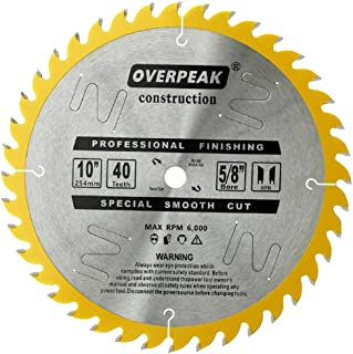 OVERPEAK Cutting Circular Saw Blade 10 Inch 40 Tooth Woodworking Thin Kerf General Purpose with 5/8 In Arbor