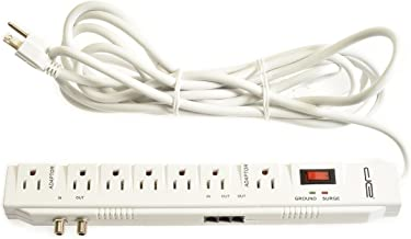 Surge Protector Power Strip with Extra Long 25-Ft Extension Cord, 2400 Joules Rating, 7 Outlets, Phone, Coax Protection, 14 AWG Wire