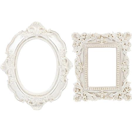SOIMISS 2PCS Vintage Cornice Ovale Piazza Antico Tavolo di Montaggio A Parete Photo Frame per Il Barocco Decorazioni Per La Casa di Visualizzazione di Foto Galleria di Arte Regalo di