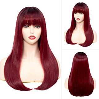 Women Long Straight Wig with Bangs Silky Hair 24 Inches Daily Natural Looking Wigs (Burgundy wine red)