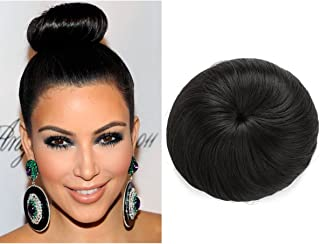 Donut Chignon Hair Bun Extension Clip in Black Ballerina Synthetic Hairpieces Updo Hair Piece For Women Gril Lady Q3&2