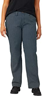 Dickies Women's Plus Size Relaxed Straight Carpenter Hickory Stripe Pant
