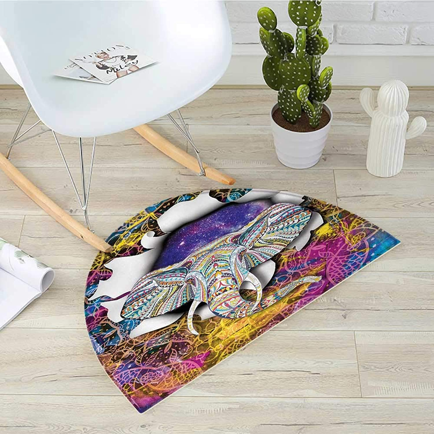 Animal Semicircular CushionElephant Figure Shows Up Inside Ethnic Fantasy Ornament Over Space Backdrop Kitsch Print Entry Door Mat H 39.3  xD 59  Multi