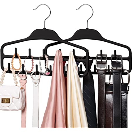 SMARTAKE 2-Pack Belt Hangers, 360 Degree Rotatable Tie Racks with 11 Hooks, Non-Slip Durable Hanging Closet Organizer Accessories Holder for Leather Belts, Bow Ties, Scarves, Bags, Jewelry (Black)