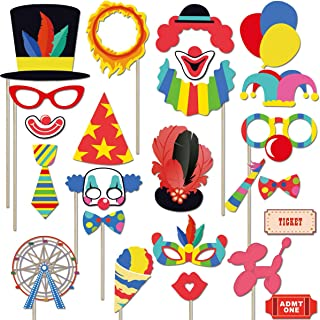Circus Carnival Birthday Photo Booth Props Kit(24Pcs) Circus Carnival Party Favors for Birthday Bachelorette Baby Shower Party Dress-up Acessories with Wood Sticks