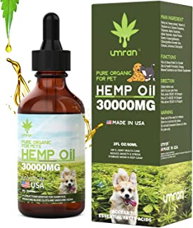 Umran Hemp Oil for Dogs Cats - 30000 MG - Pet Hemp Oil - Support Hip & Joint Health, Separation Anxiety, Omega-3, 6, 9
