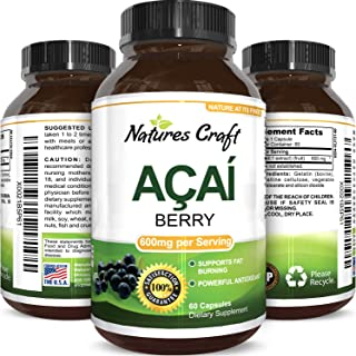 Natures Craft Acai Berry Antioxidant Support Weight Loss Supplement for Women and Men - Vitamins Minerals Antioxidant Formula Supports Immune System and Boost Energy Cognitive Health 60 Capsules