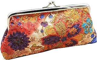 Luxurious Women's Coin Purse Flower Pouch Wallet Money Bag,Colour:Beige (Color : Orange)