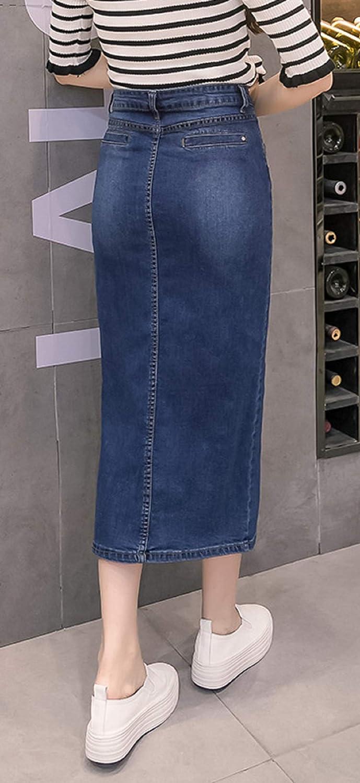 CHARTOU Women's High Waist Button Packaged Hip Split Wash Midi Denim Pencil Skirt