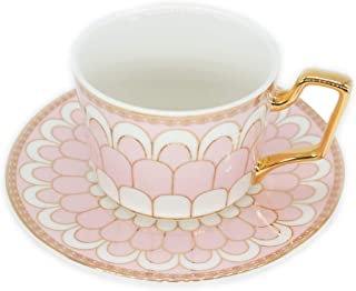 Tea Coffee Cups-6.8oz Bone China Ceramic Beautiful Pink Matte Glazed Tea Cup with Matching Saucers Father's Day Gift