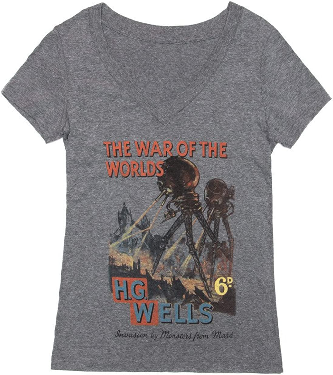 Out of Print Women's Mail order cheap Literary V-Neck Tee T- Large discharge sale Book-Themed Classics