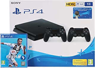 Sony PlayStation 4 Slim 1TB 2 Controllers, Black with FIFA 19 Arabic Edition