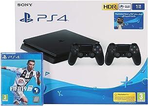 Sony PlayStation 4 Slim 1TB 2 Controllers, Black with FIFA 19 Arabic Edition