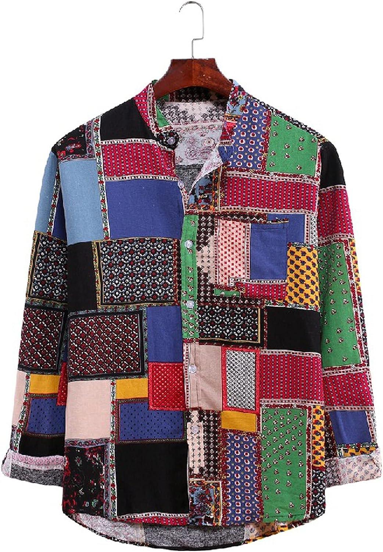 WOCACHI Boho Casual Shirts for Mens, Fall Beach Button-down Cotton Linen Loose Tops Hawaiian Tshirts with Pockets
