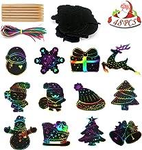 BIGPANDA Rainbow Scratch Christmas Ornaments (48 Pieces) - Kids Party Crafts Set Christmas Decoration DIY