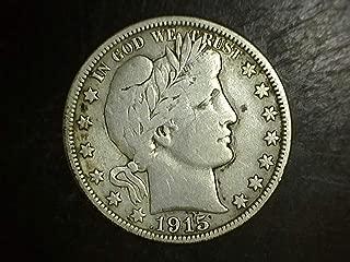 1915 D Silver Barber Half Dollar 50c F/VF