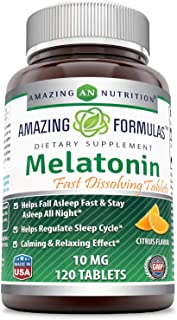 Amazing Formulas Melatonin –10 Mg, 120 Tablets (Non-GMO,Gluten Free) - Natural Sleep Aid Supplement – Promotes Calming and...