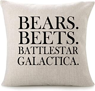 CHICCAT Cotton Linen Throw Pillow Case - Bears. Beets. Battlestar Galactica Home Decor Wedding Gift Engagement Present Housewarming Gift Cushion Cover 18 X 18