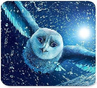 美しい動物飛行かわいい白いフクロウの赤ちゃんの目で雪の月光鳥の羽のアート?パターンのデザインユニークなカスタム矩形のマウスパッド、ゲームノンスリップラバーマウスパッドのマット