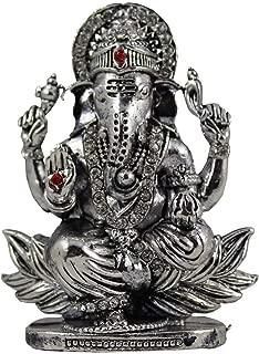 Lord Ganesha Sitting On Lotus Silver Idol Car Dashboard Metal Statue 1.5X3