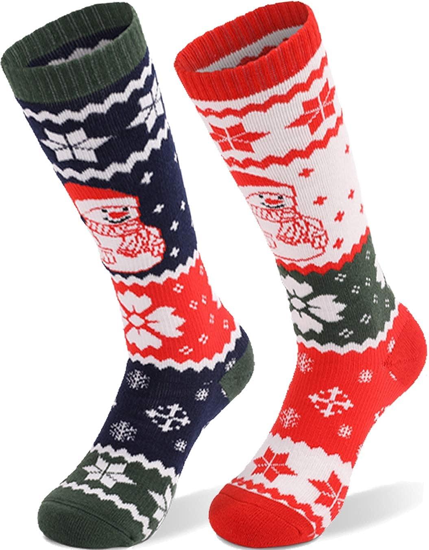 T WILKER 2Pair Kids Ski Socks Wool Warm and Soft Winter Socks,Snow Socks,Over The Calf Christmas Socks for Toddler Boys&Girls