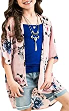 Geckatte Girls Boho Floral Kimono Cardigan Capes Summer Batwing Sheer Cover Up Blouse Tops