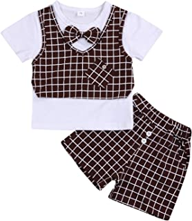 Happy Town Baby Boy Gentleman Sets Summer Short Sleeve Tie T-Shirt Plaid Shorts Toddler Boys Little Man Outfits Sets