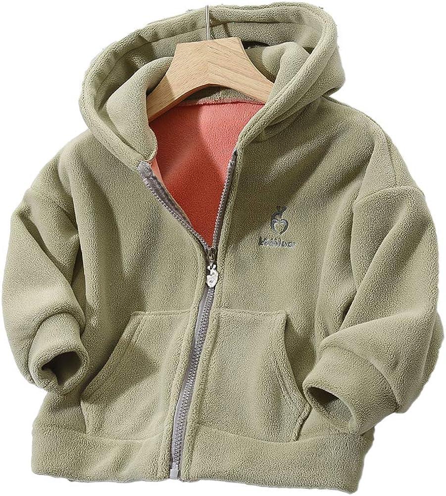 Feidoog Kids Boys Girls Fleece Hoodie Jacket Long Sleeve Coat Zipper Up Jacket Thick Warm Outerwear