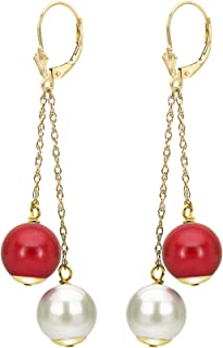 14K Yellow Gold Leverback Cultured Freshwater White Pearl Earrings Dangle Simulated Gemstone 8-8.5mm