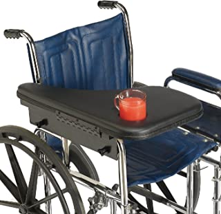 Sammons Preston Premium Flip-Away Half Lap Tray, Wheelchair Accessory for Writing, Reading, and Eating, Attaches to Full-Length or Desk Wheelchair Arms, Plastic Lap Desk Includes Ridge and Cup Indent