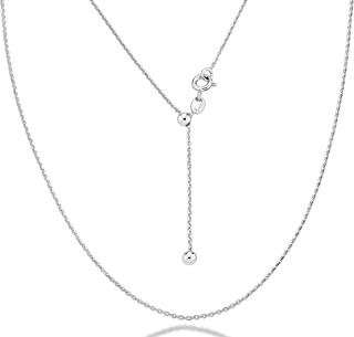 925 Sterling Silver Italian 1.3mm Adjustable Solid Diamond Cut Thin Bolo Cable Chain Necklace for Women, Slider Chain 14-24 Inch Made in Italy