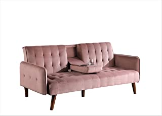 Container Furniture Direct SB9072 Cricklade Convertible Sofa Bed, Pink