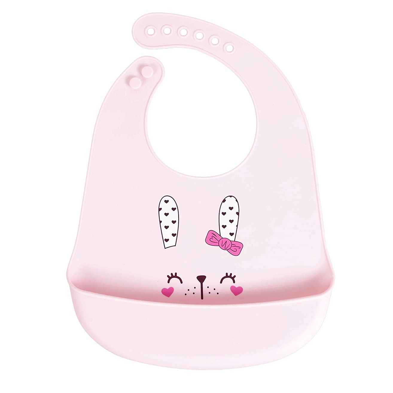 Waterproof Silicone Bib For Toddler Baby Bibs for Girls and Boys Bucket Bib Water Pockets(Rabbit)