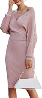 Sollinarry Women's 2 Piece Knit Sweater Dress V Neck Batwing Sleeve Crop Top Bodycon Midi Skirt