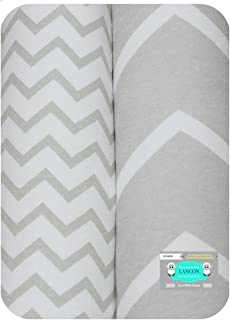 Pack N Play Portable Crib Sheet Set by LANCON Kids - 2 Pack of Ultra Soft, Premium 100% Jersey Knit Cotton Fitted Sheets (Gray/White Chevron)